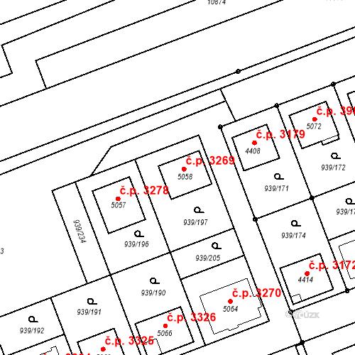 Katastrální mapa Stavební objekt Hodonín 3269, Hodonín