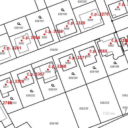 Katastrální mapa Stavební objekt Hodonín 3271, Hodonín