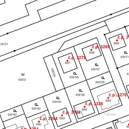 Katastrální mapa Stavební objekt Hodonín 3278, Hodonín