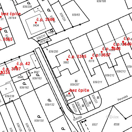 Katastrální mapa Stavební objekt Hodonín 3305, Hodonín