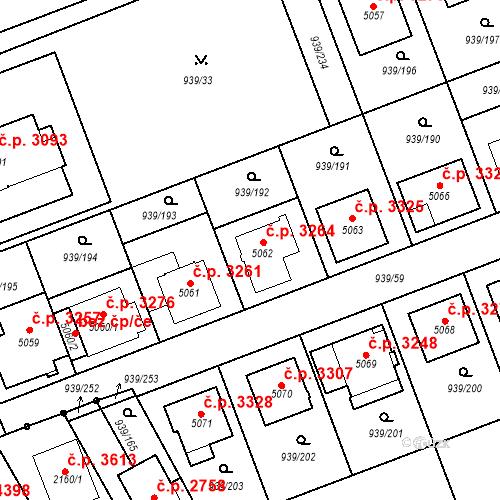 Katastrální mapa Stavební objekt Hodonín 3264, Hodonín