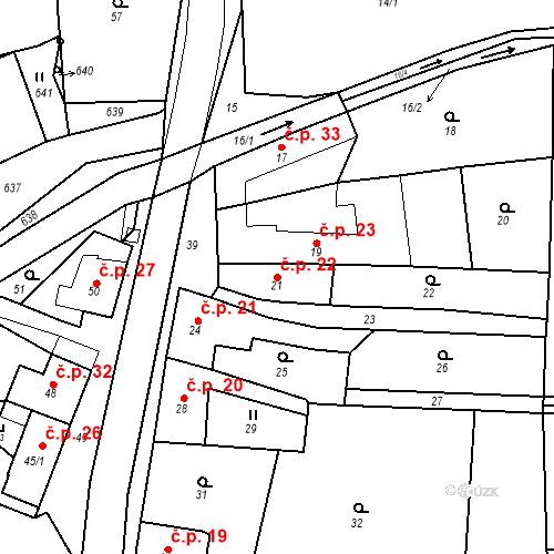 Katastrální mapa Stavební objekt Sněhotice 22, Brodek u Prostějova