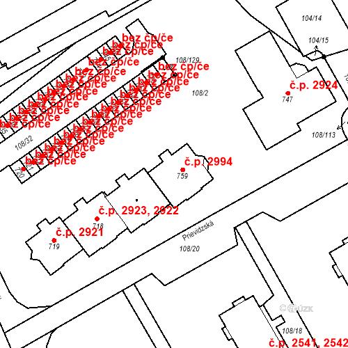 Katastrální mapa Stavební objekt Šumperk 2994, Šumperk