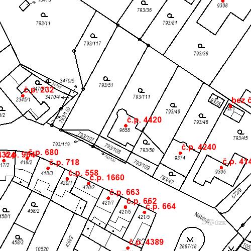 Katastrální mapa Stavební objekt Hodonín 4420, Hodonín