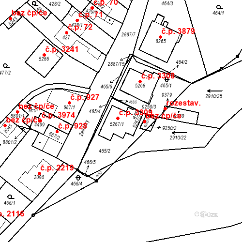 Katastrální mapa Stavební objekt Hodonín 3309, Hodonín