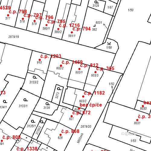 Katastrální mapa Stavební objekt Hodonín 812, Hodonín