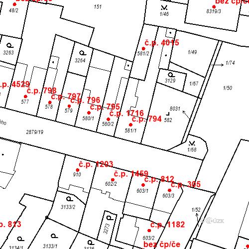 Katastrální mapa Stavební objekt Hodonín 794, Hodonín