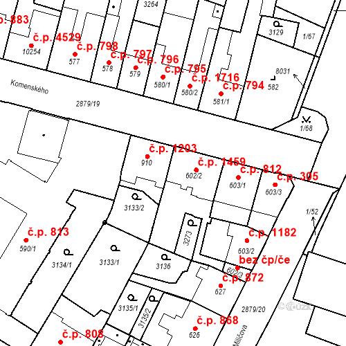 Katastrální mapa Stavební objekt Hodonín 810, Hodonín