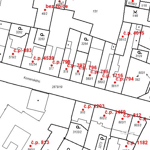 Katastrální mapa Stavební objekt Hodonín 796, Hodonín
