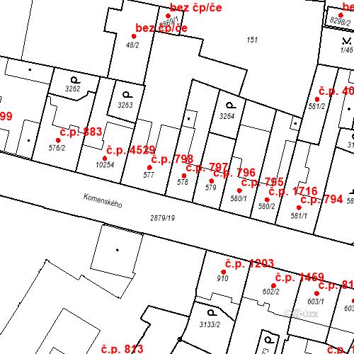 Katastrální mapa Stavební objekt Hodonín 797, Hodonín