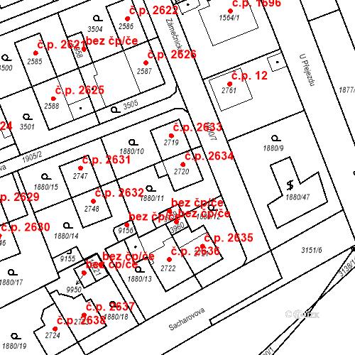 Katastrální mapa Stavební objekt Hodonín 2634, Hodonín