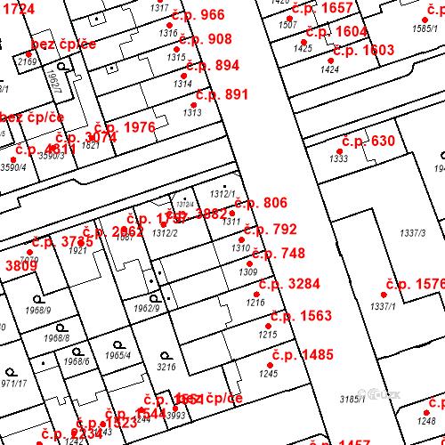 Katastrální mapa Stavební objekt Hodonín 806, Hodonín