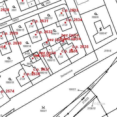 Katastrální mapa Stavební objekt Hodonín 2636, Hodonín