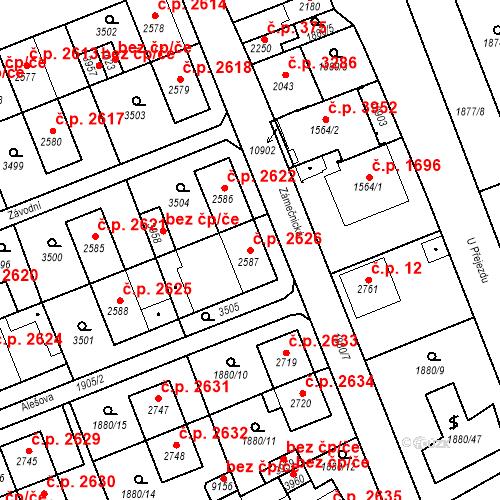 Katastrální mapa Stavební objekt Hodonín 2626, Hodonín