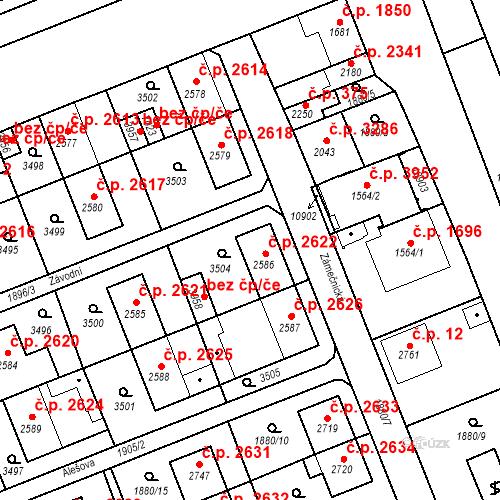 Katastrální mapa Stavební objekt Hodonín 2622, Hodonín