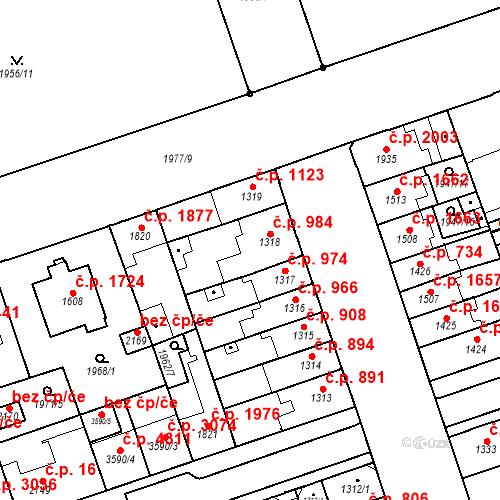 Katastrální mapa Stavební objekt Hodonín 984, Hodonín