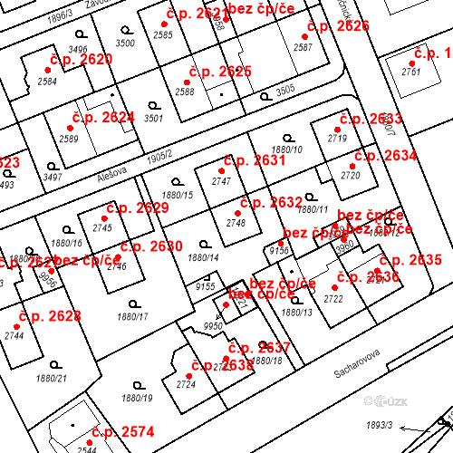 Katastrální mapa Stavební objekt Hodonín 2632, Hodonín
