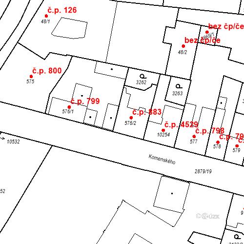 Katastrální mapa Stavební objekt Hodonín 883, Hodonín