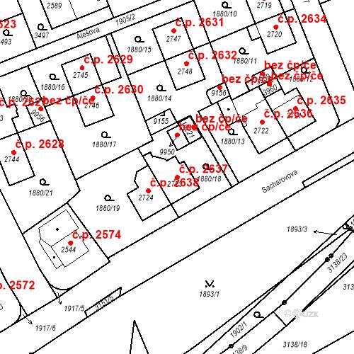 Katastrální mapa Stavební objekt Hodonín 2637, Hodonín