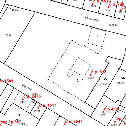 Katastrální mapa Stavební objekt Hodonín 813, Hodonín