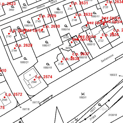 Katastrální mapa Stavební objekt Hodonín 2638, Hodonín