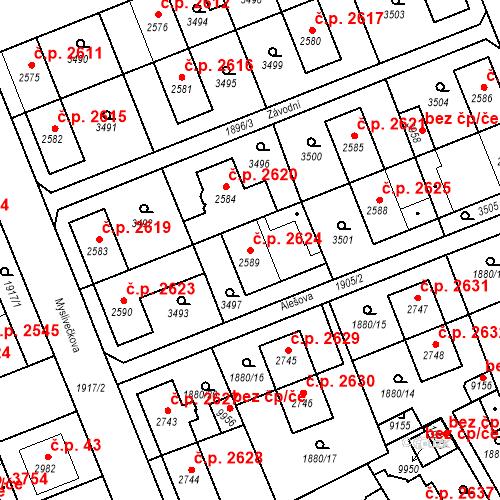 Katastrální mapa Stavební objekt Hodonín 2624, Hodonín