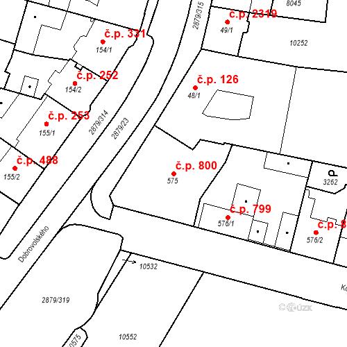 Katastrální mapa Stavební objekt Hodonín 800, Hodonín