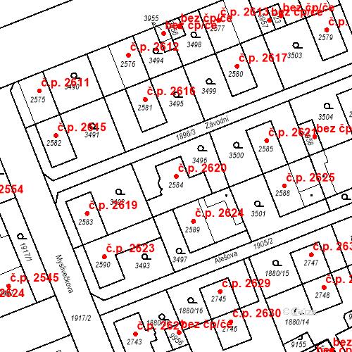Katastrální mapa Stavební objekt Hodonín 2620, Hodonín