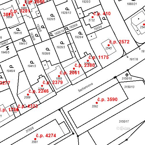 Katastrální mapa Stavební objekt Hodonín 2380, Hodonín