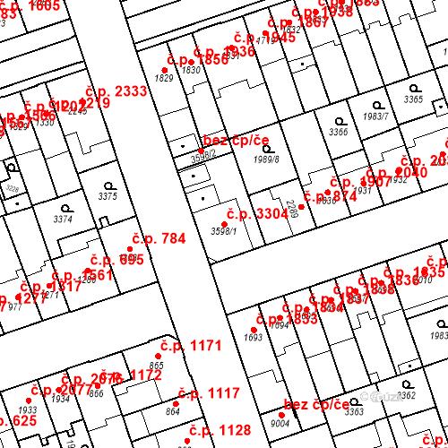 Katastrální mapa Stavební objekt Hodonín 3304, Hodonín