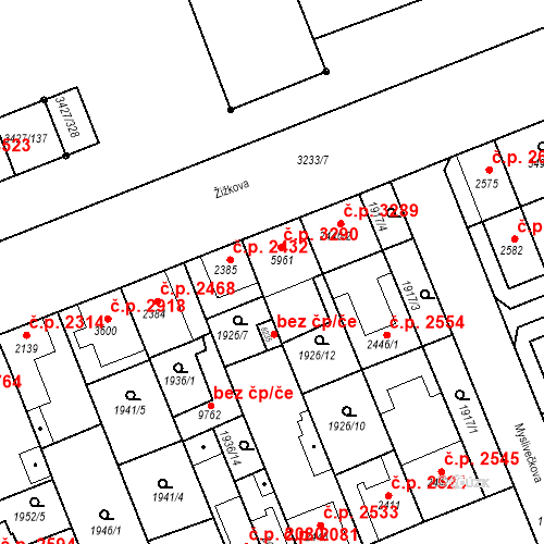 Katastrální mapa Stavební objekt Hodonín 3290, Hodonín