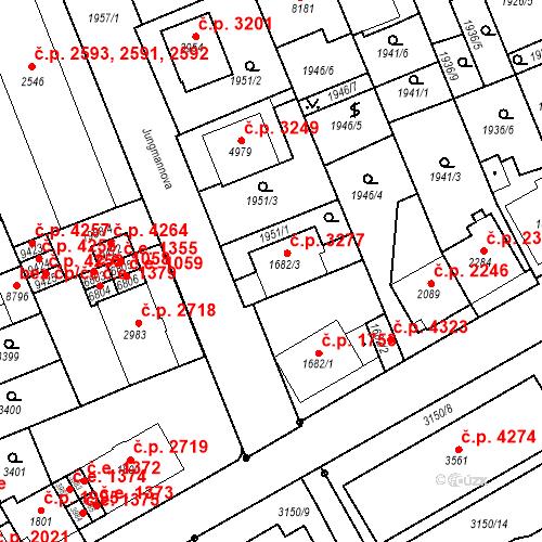 Katastrální mapa Stavební objekt Hodonín 3277, Hodonín