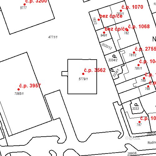 Katastrální mapa Stavební objekt Hodonín 3562, Hodonín
