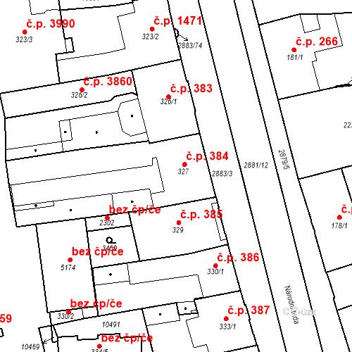 Katastrální mapa Stavební objekt Hodonín 384, Hodonín