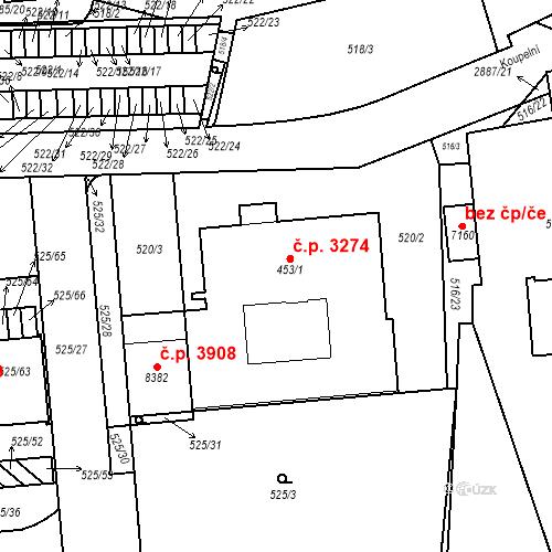 Katastrální mapa Stavební objekt Hodonín 3274, Hodonín