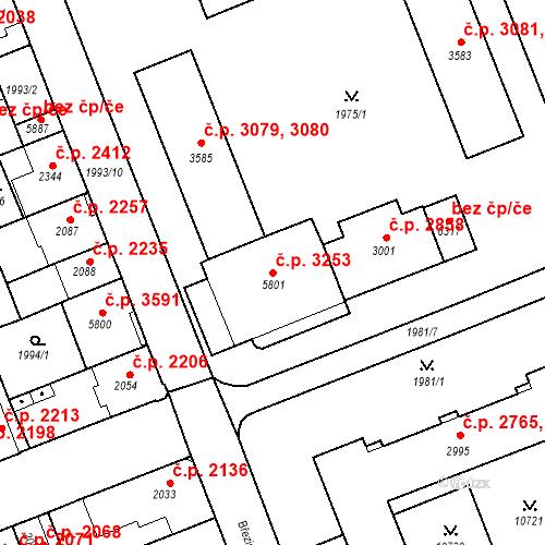 Katastrální mapa Stavební objekt Hodonín 3253, Hodonín
