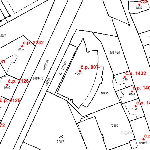 Katastrální mapa Stavební objekt Hodonín 807, Hodonín