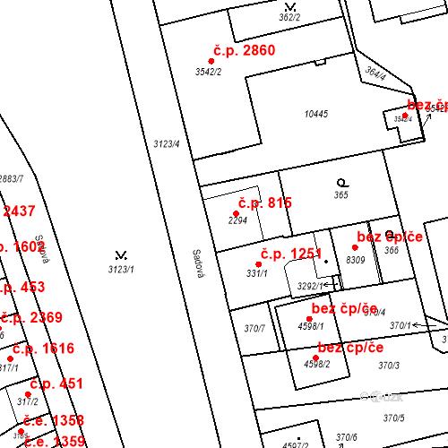 Katastrální mapa Stavební objekt Hodonín 815, Hodonín