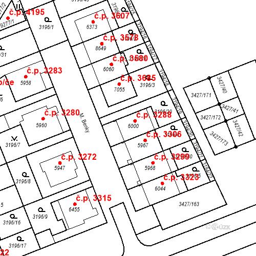 Katastrální mapa Stavební objekt Hodonín 3288, Hodonín