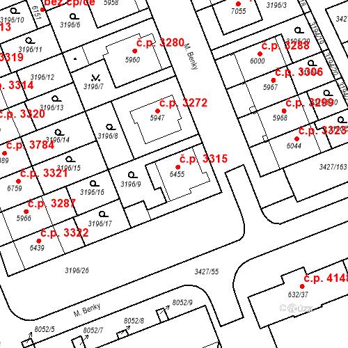 Katastrální mapa Stavební objekt Hodonín 3315, Hodonín