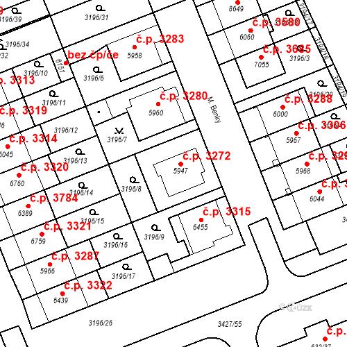 Katastrální mapa Stavební objekt Hodonín 3272, Hodonín