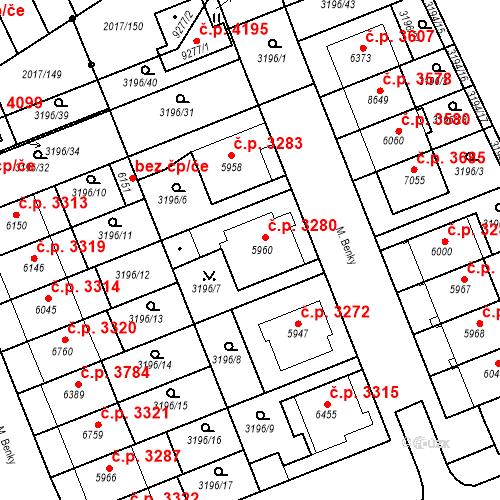 Katastrální mapa Stavební objekt Hodonín 3280, Hodonín