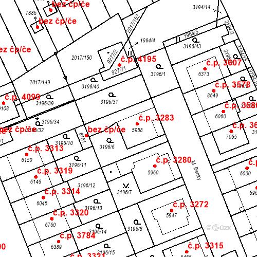 Katastrální mapa Stavební objekt Hodonín 3283, Hodonín