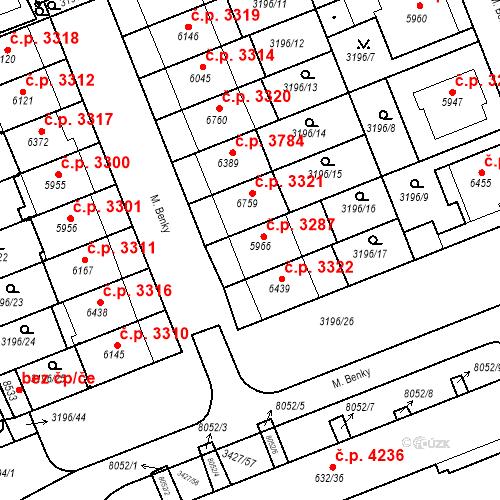 Katastrální mapa Stavební objekt Hodonín 3287, Hodonín