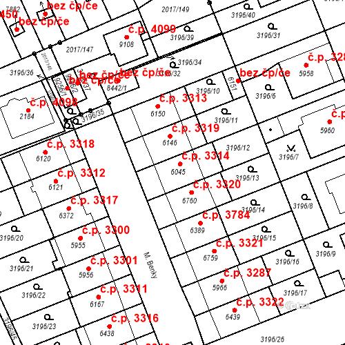 Katastrální mapa Stavební objekt Hodonín 3314, Hodonín