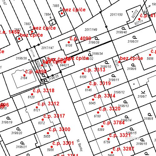 Katastrální mapa Stavební objekt Hodonín 3313, Hodonín