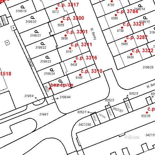 Katastrální mapa Stavební objekt Hodonín 3310, Hodonín