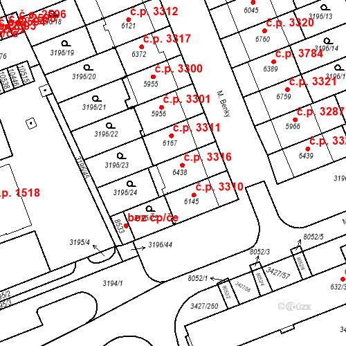 Katastrální mapa Stavební objekt Hodonín 3316, Hodonín