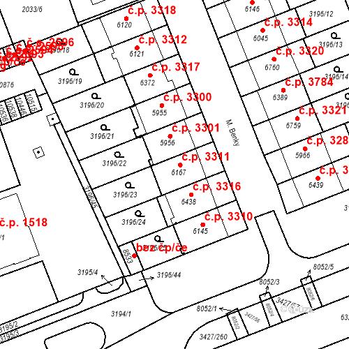 Katastrální mapa Stavební objekt Hodonín 3311, Hodonín