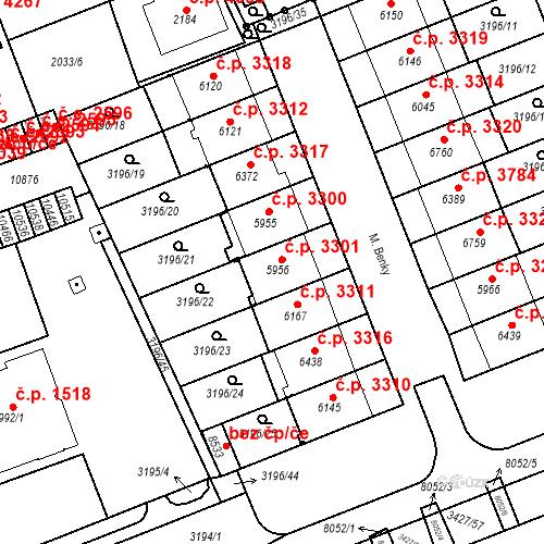 Katastrální mapa Stavební objekt Hodonín 3301, Hodonín
